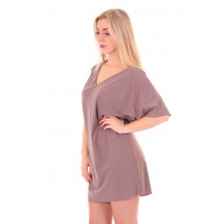 Mogene loose-fit tunic dress in taupe