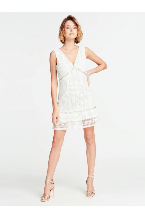 Guess dress embroidery in wit