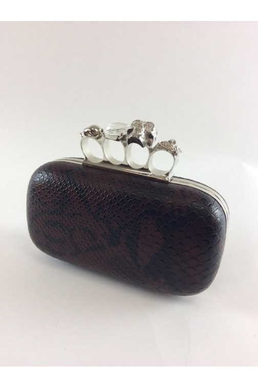 knuckle clutch in snakeprint - bruin