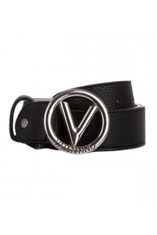 Valentino round logo belt in zwart - breed