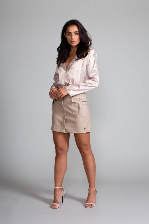 Jacky Luxury leren rok in nude