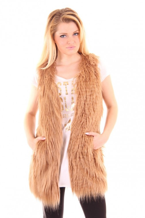 Ibana Rouge faux fur gilet in Cognac