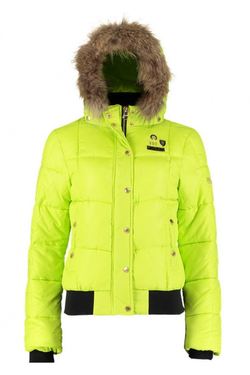 Nickelson Winterjacket in Lime with fur: Amoen