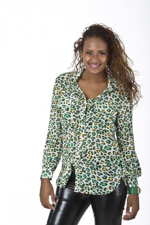 Picture Perfect leopard blouse in green