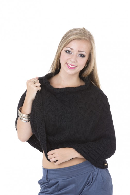Miss Money Money knitted poncho in black