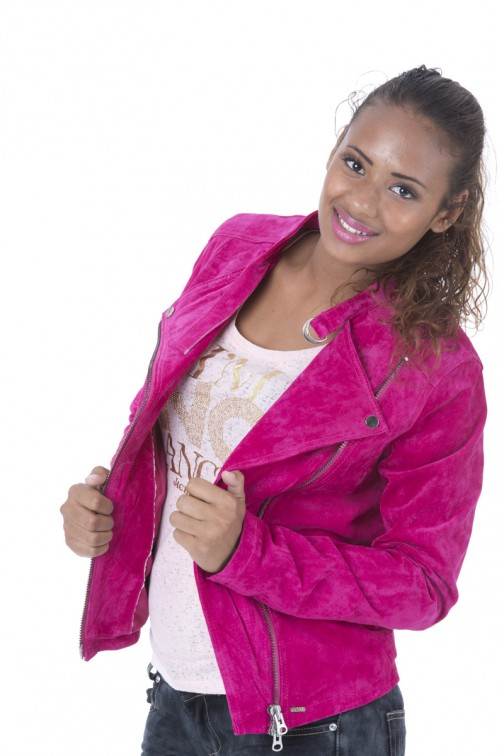 Ibana suede jacket in Fuchsia