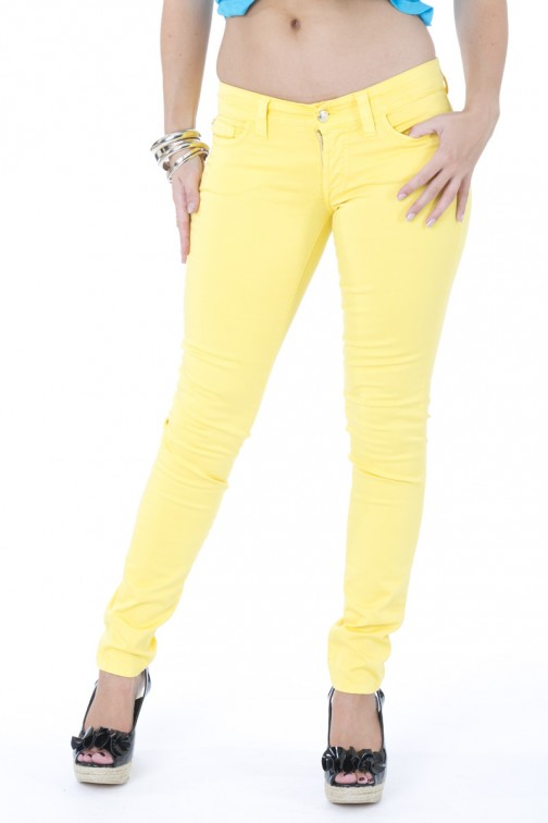 SOS skinny jeans in yellow