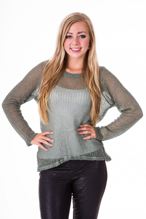 Knitted sweater in Army green&Silver Mogene