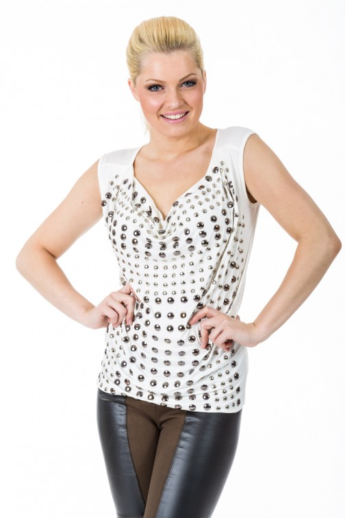 Studded top in White&Silver