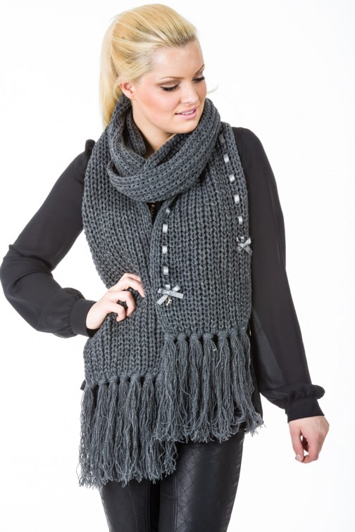 Knitted Scarf in grey Fracomina