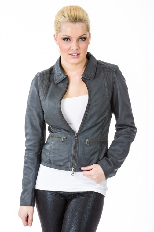 Leather jacket in Grey Ibana Rouge