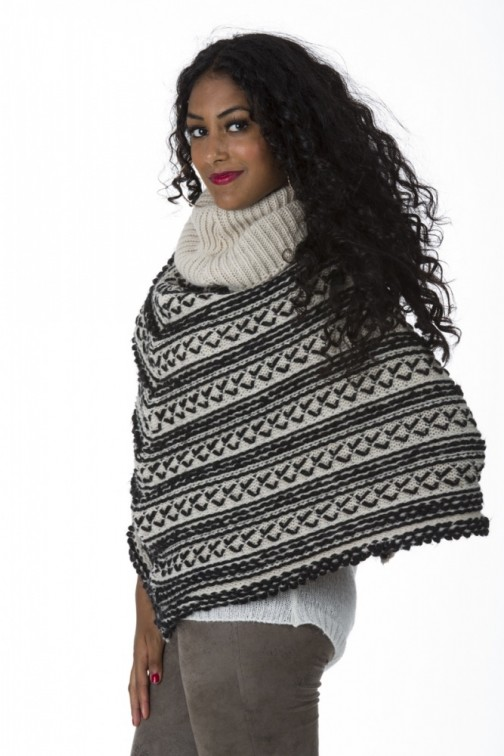Miss Money Money poncho in Black&Grey