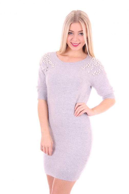 Relish knitted pearl Dress soft grey