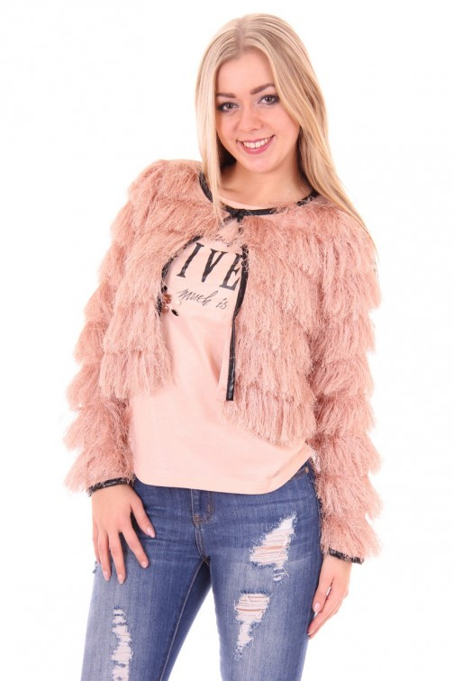Given soft jacket in powder pink