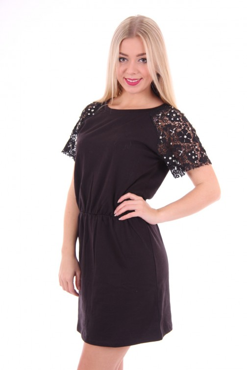 B loved lace shirt dress in black