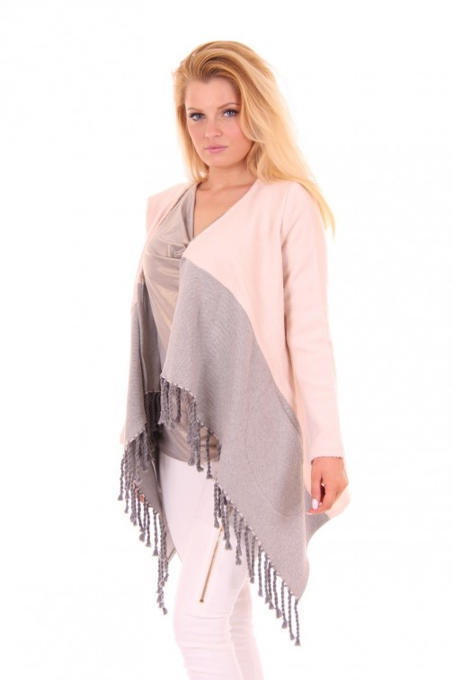 Jacky Luxury poncho jas in Soft pink&Grey