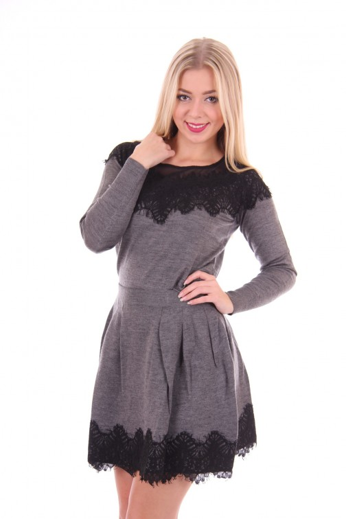 Silvian Heach black lace skater Skirt in grey