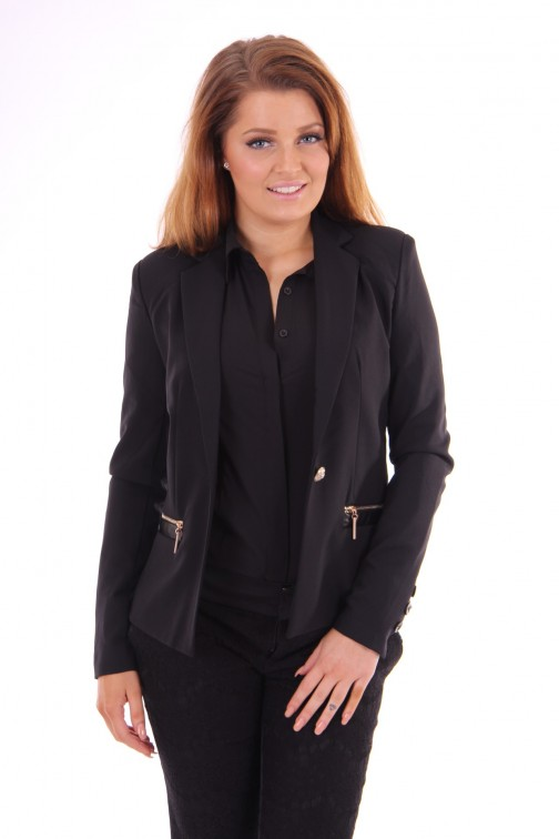 Glamorous blazer black leather details