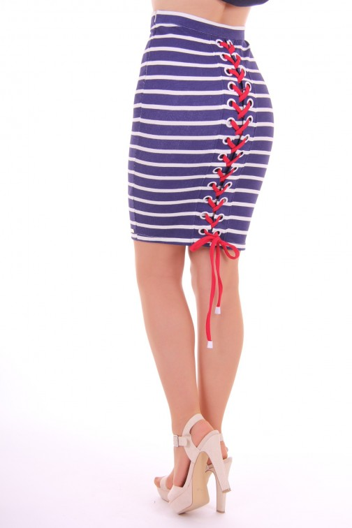 Tailor & Elbaz - pencil skirt stripes - blue
