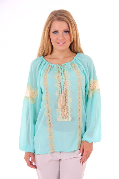Jacky Luxury top Turquoise lace