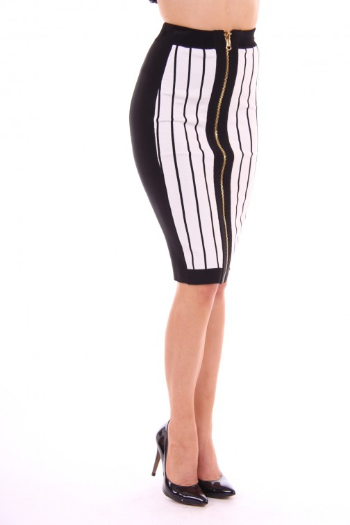 Tailor & Elbaz skirt black & white stripes
