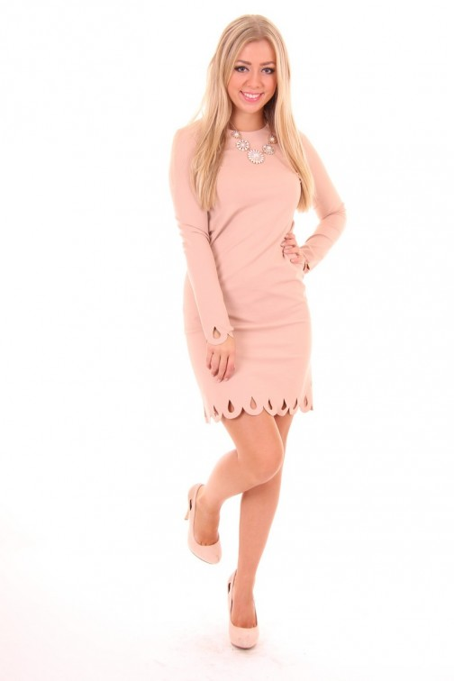 Miss Money Money classy dress in Soft Pink