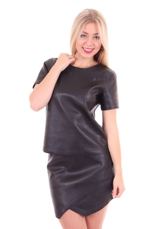 B loved black leather top