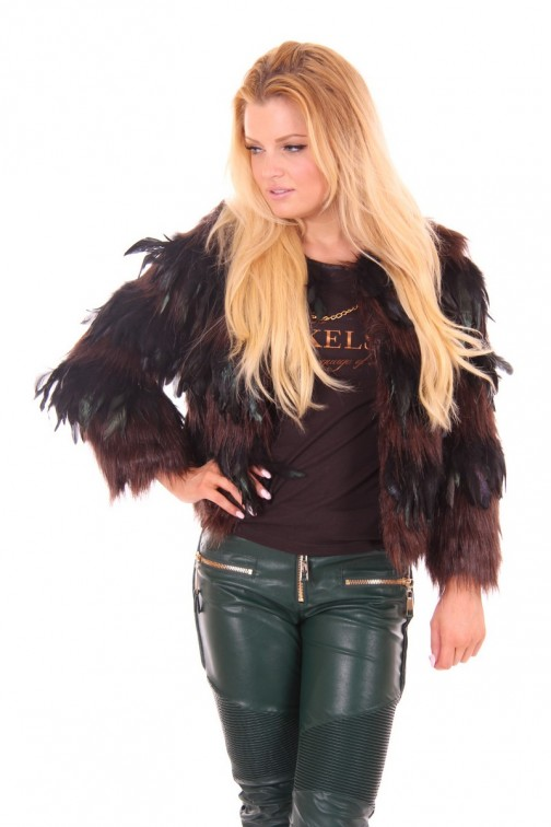 Bordeaux&Black feather jacket Ibana Rouge