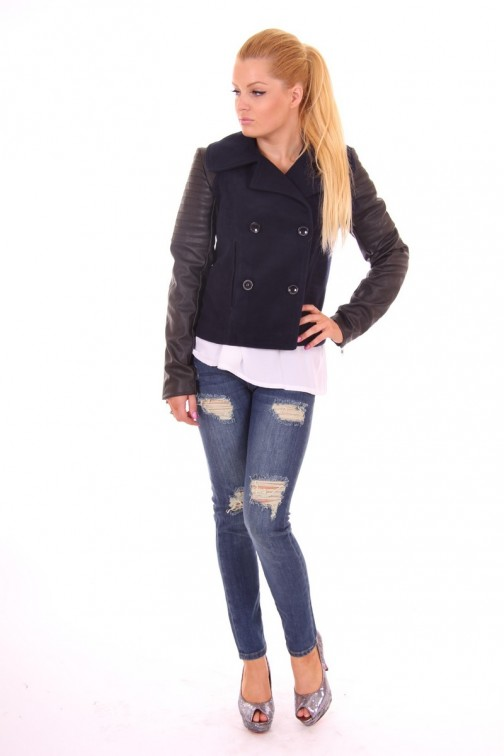 Jacky Luxury winterjacket in Black&Blue with leather