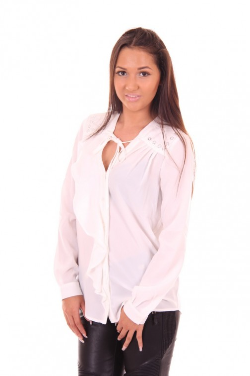 Relish blouse top in wit met ruche