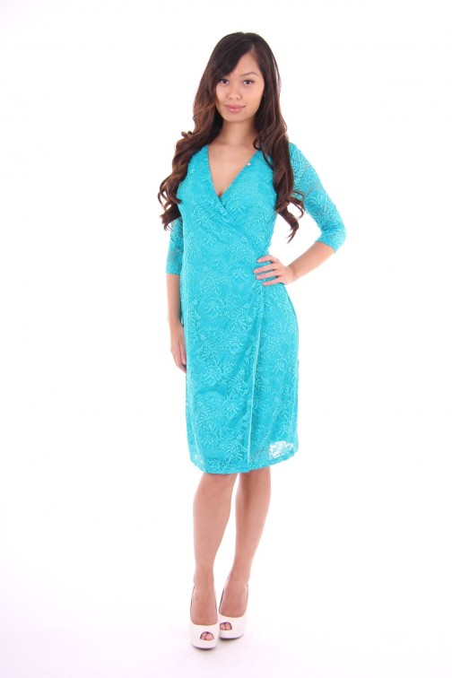 Its Given lace dress Turquoise Starr