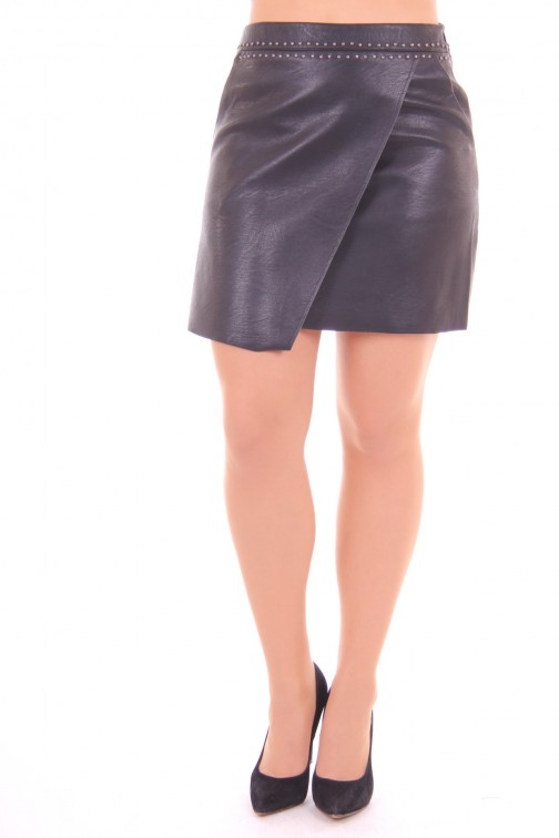 Suncoo leather skirt black