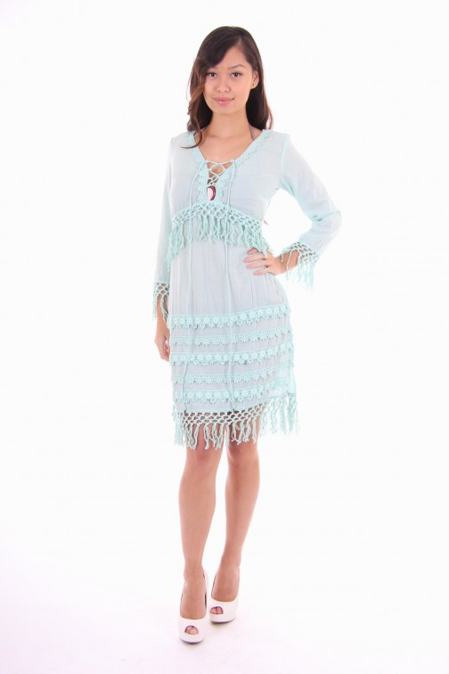 Isla Ibiza fringe dress turquoise