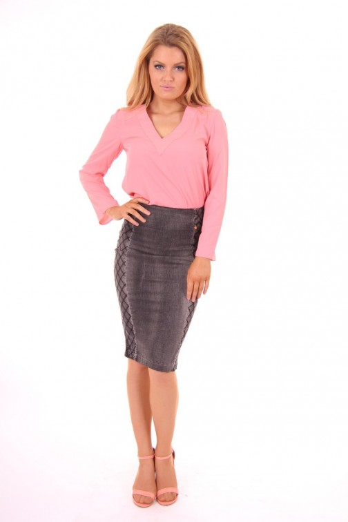 Given Ella tube skirt  in grey denim