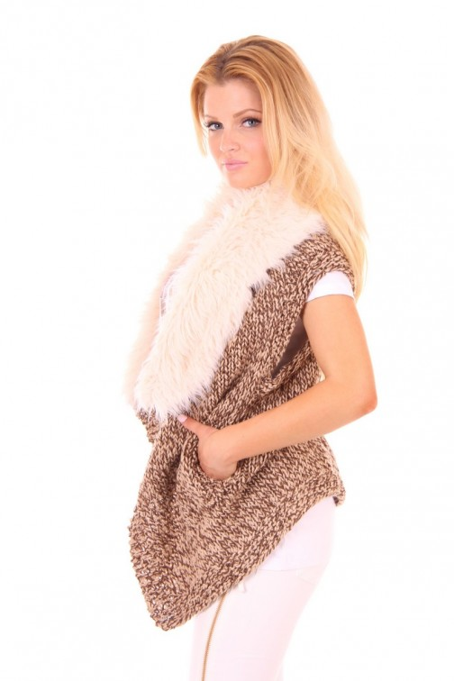Knitted gilet Faux Fur in brown