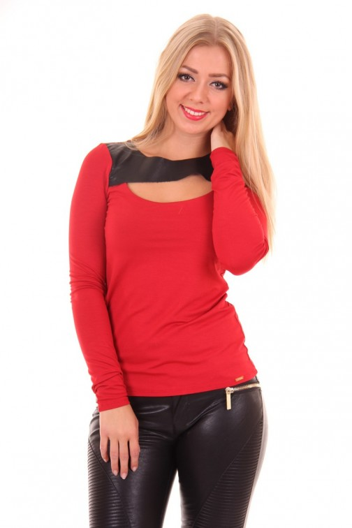 Miss Money Money top in Red&Black leather