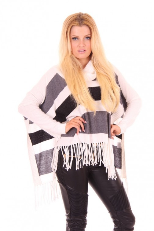 Poncho met col in White&Grey Jacky Luxury