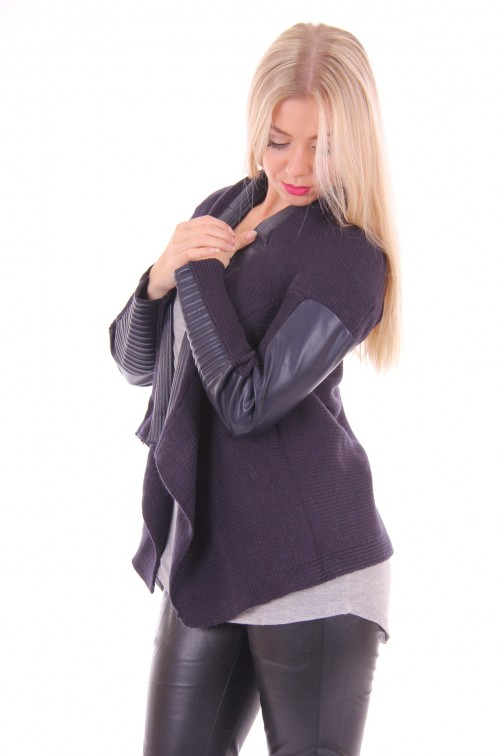 Jacky Luxury knitted cardigan navy leather