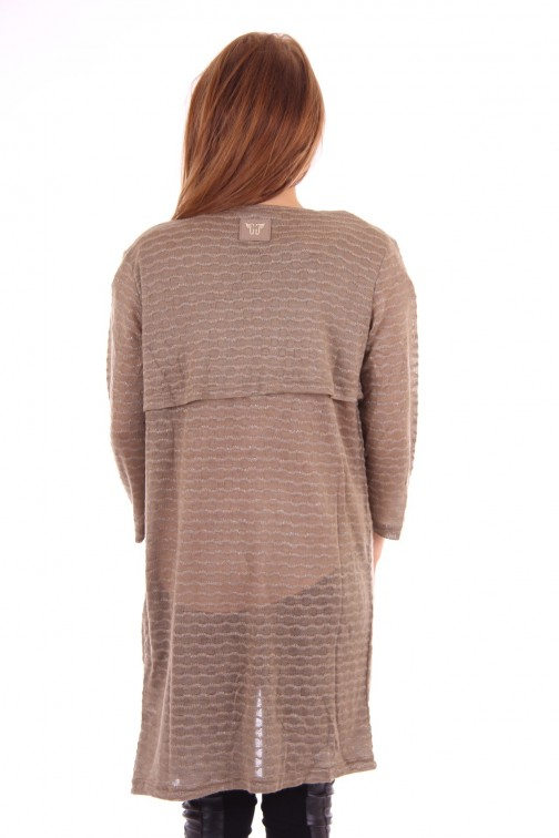Given knitted Cardigan taupe