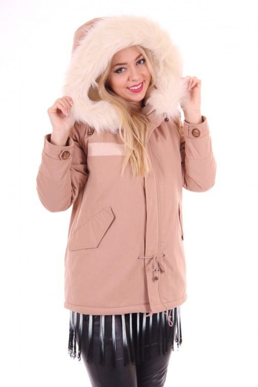 B loved khaki winterjacket white fur
