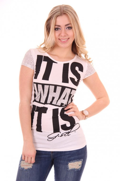 "G.sel shirt ""it is what it is"" in white"