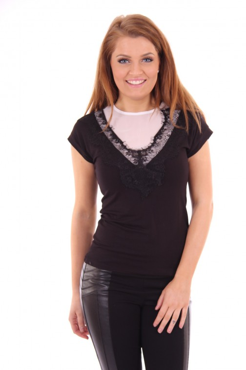 Fracomina top Black&White lace