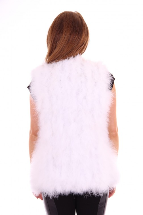 Ibana gilet white feathers