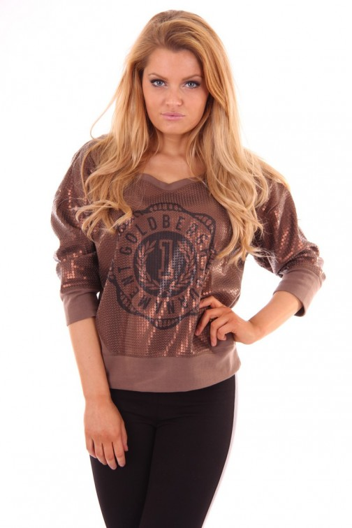 Goldbergh pailletten sweater bronze
