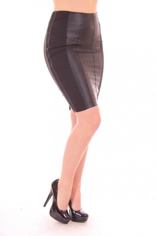 Glamorous Black Pencil Skirt half-leather