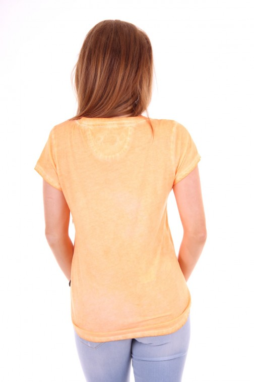 Goldbergh shirt neon peach text