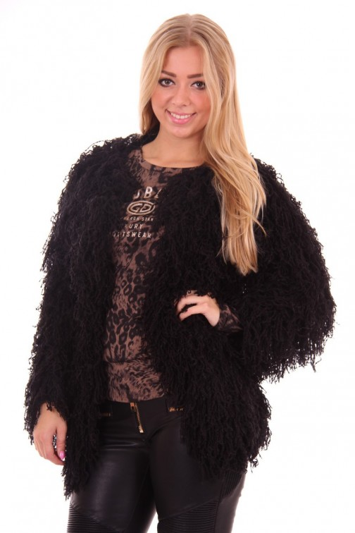 Como jacket fake fur in Black Ibana Rouge