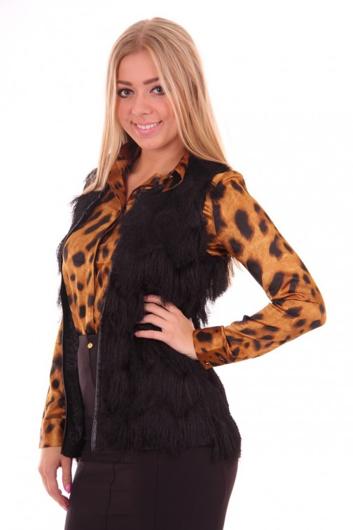 Chaise gilet met haartjes in black Given