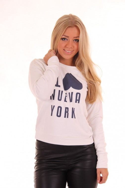 Jacky Luxury lace Sweater in white I LOVE NUEVA YORK