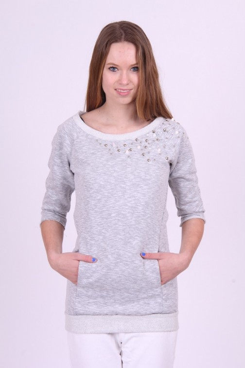 Sweater Gaudi in Grey met studs en pailletten